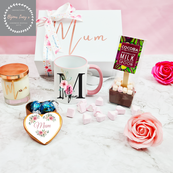 Personalised Mothers Day Gift Set with Black Initial Mug