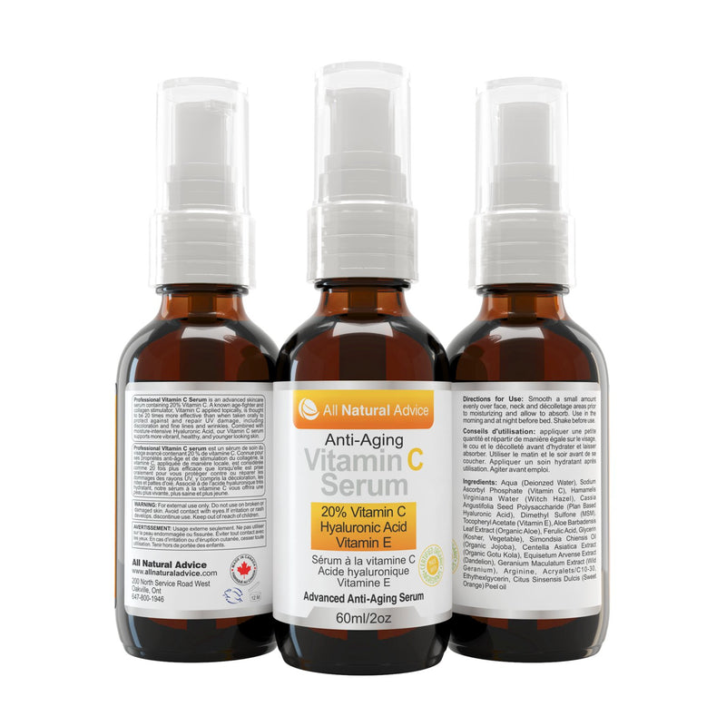All Natural Advice Advanced Anti-Aging Vitamin C Serum 60ml - Maple House Nutrition Inc.