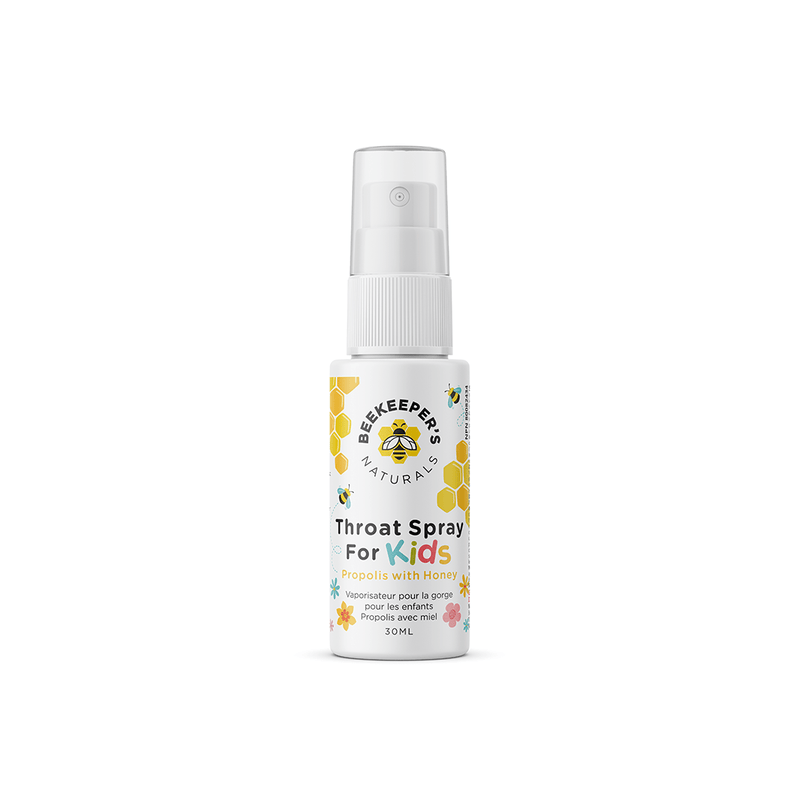 Beekeeper's Naturals Throat Relief Propolis Spray for Kids 30ml - Maple House Nutrition Inc.