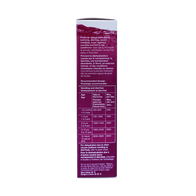 Hydralyte  Electrolyte 10 Effervescent Tablets Berry Flavour - Maple House Nutrition Inc.