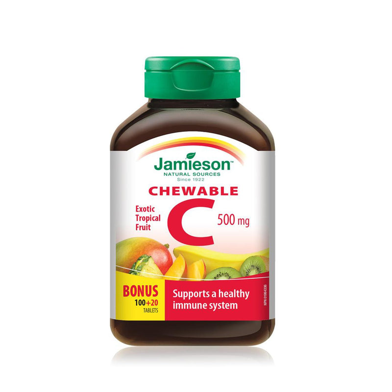Jamieson  Vitamin C 500mg 120 Chewable Tablets - Tropical Fruit - Maple House Nutrition Inc.