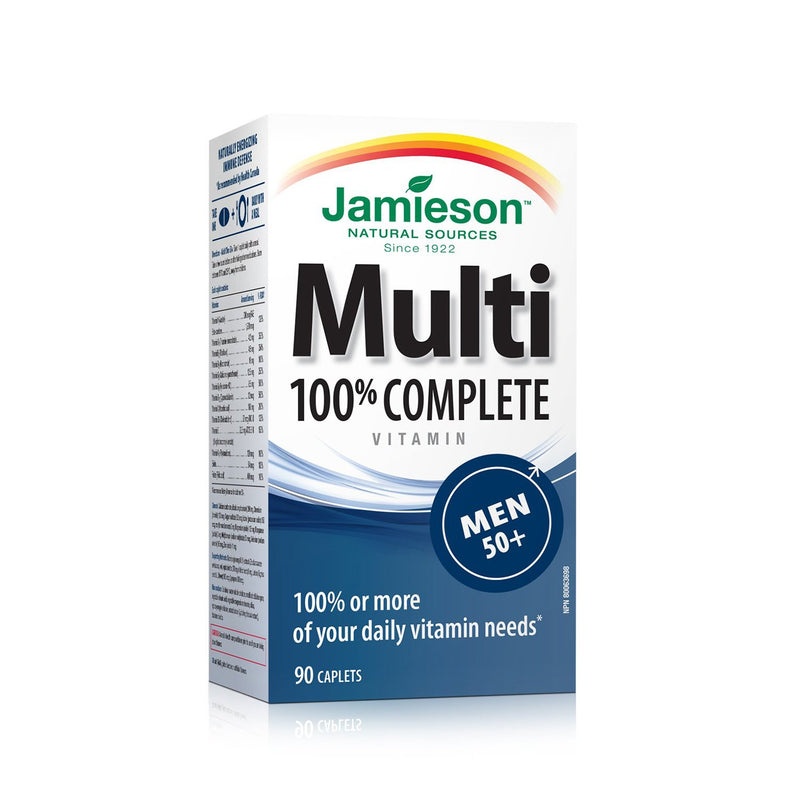 Jamieson 100% Complete Multivitamins for Men 50+ Years Old 90 Caplets - Maple House Nutrition Inc.