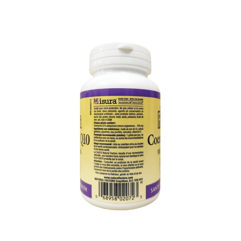 Natural Factors Coenzyme Q10 100mg 120 Softgels - Maple House Nutrition Inc.