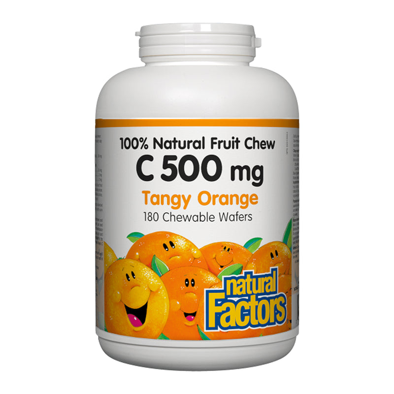 Natural Factors Chewable Vitamin C 500mg Tangy Orange 180 Wafers