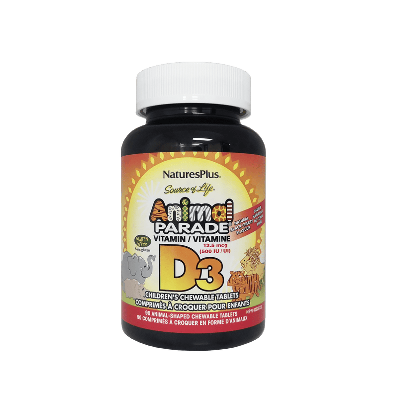 Nature's Plus Animal Parade® Vitamin D3  for Kids 90 Chewable Tablet Black Cherry Flavor - Maple House Nutrition Inc.