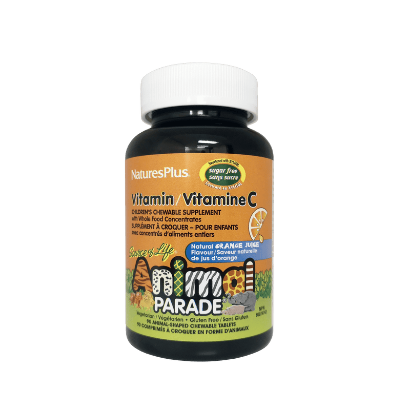 Nature's Plus Animal Parade® Vitamin C for Kids 90 Chewable Tablet Orange Flavour Sugar Free