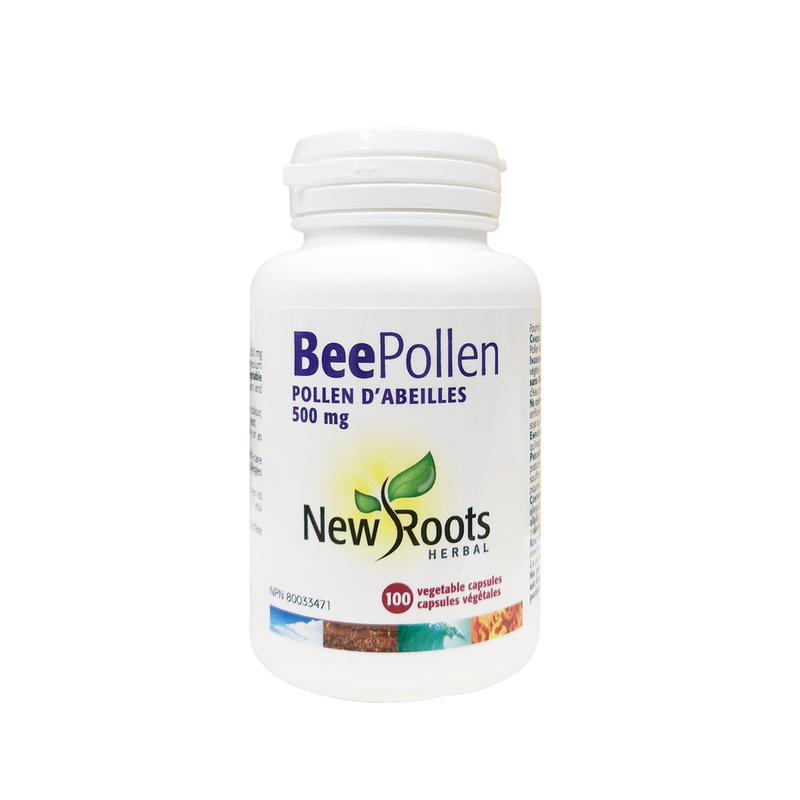 New Roots Herbal Bee Pollen 100 Vegetable Capsules - Maple House Nutrition Inc.