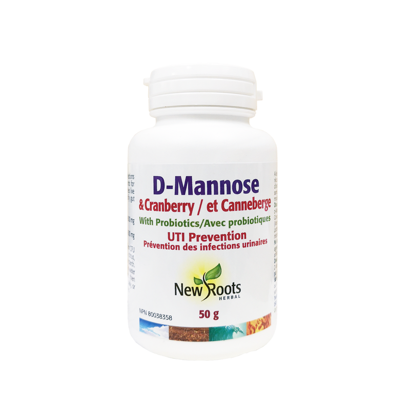 New Roots Herbal D-Mannose & Cranberry with Probiotics 50g - Maple House Nutrition Inc.
