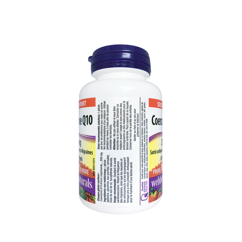 Webber Naturals Coenzyme Q10 200mg 60 Softgels - Maple House Nutrition Inc.