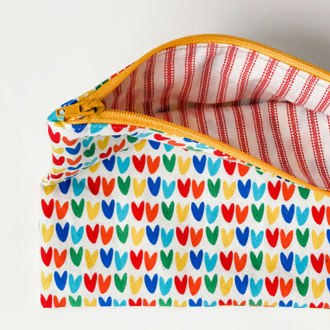 Lilla Barn Clothing reusable fabric zip pouch with hearts