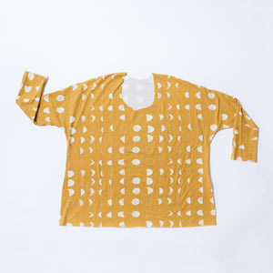 Lilla Barn Clothing Women's Dolman Top Mustard Yellow Moons