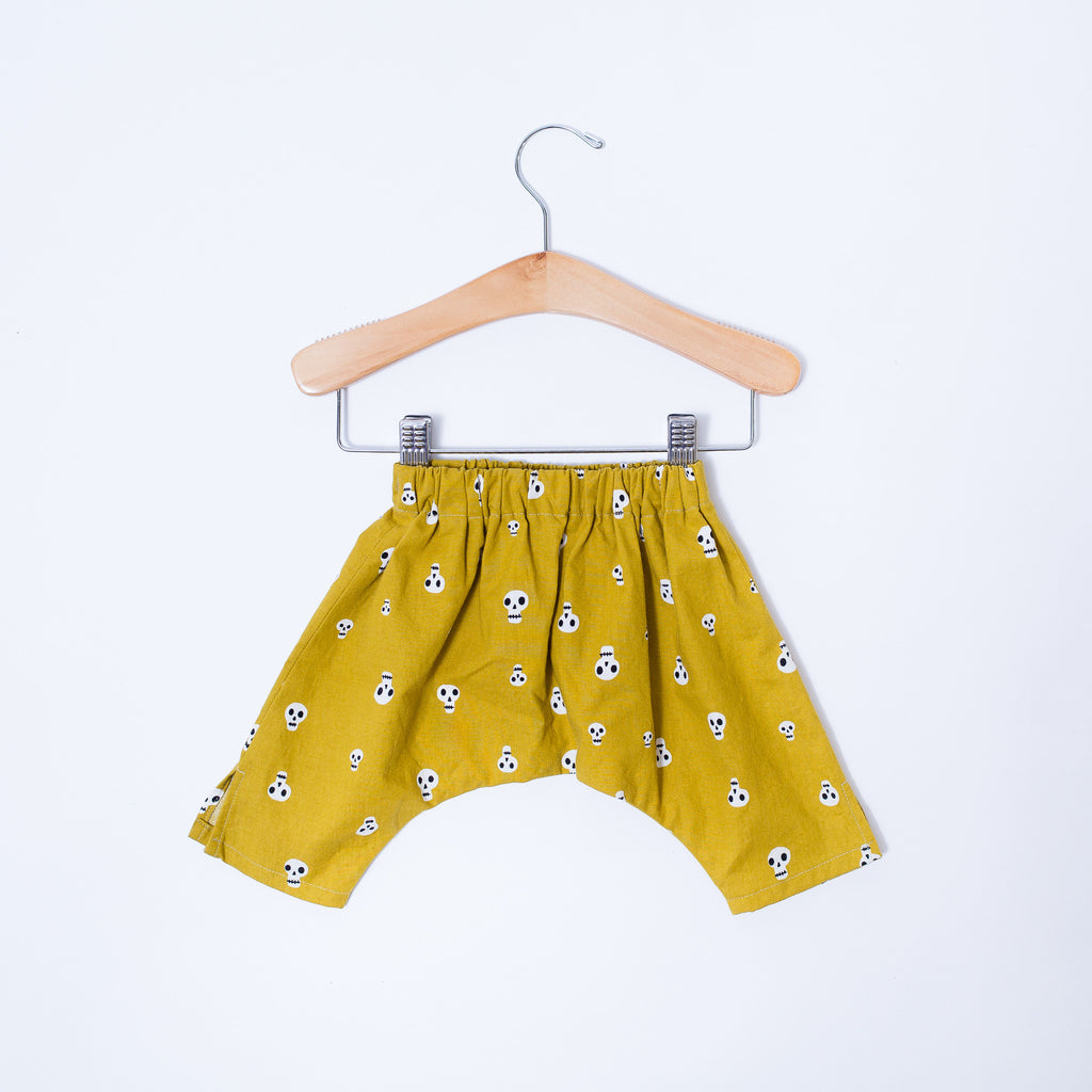 Infant & Toddler Ninja Pants - Mustard Skulls