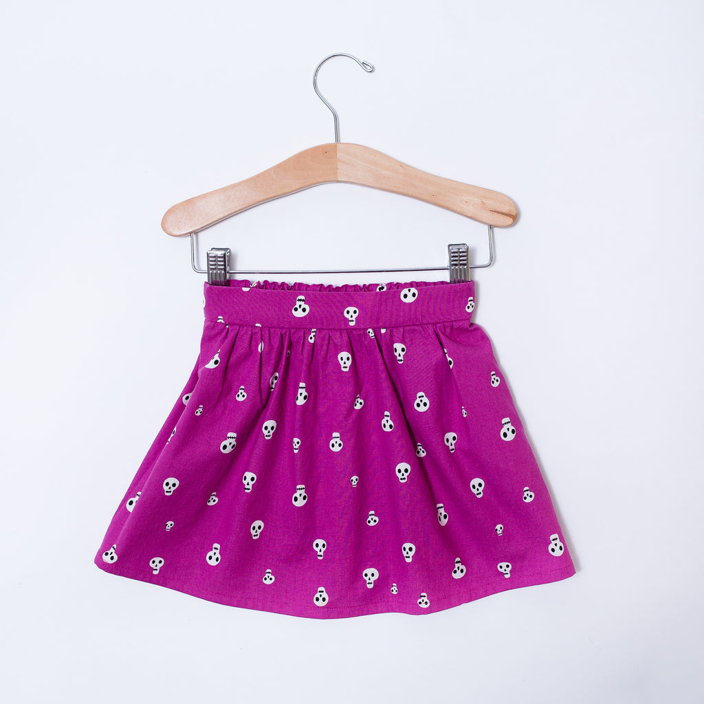 Toddler Skirt - Berry Skulls