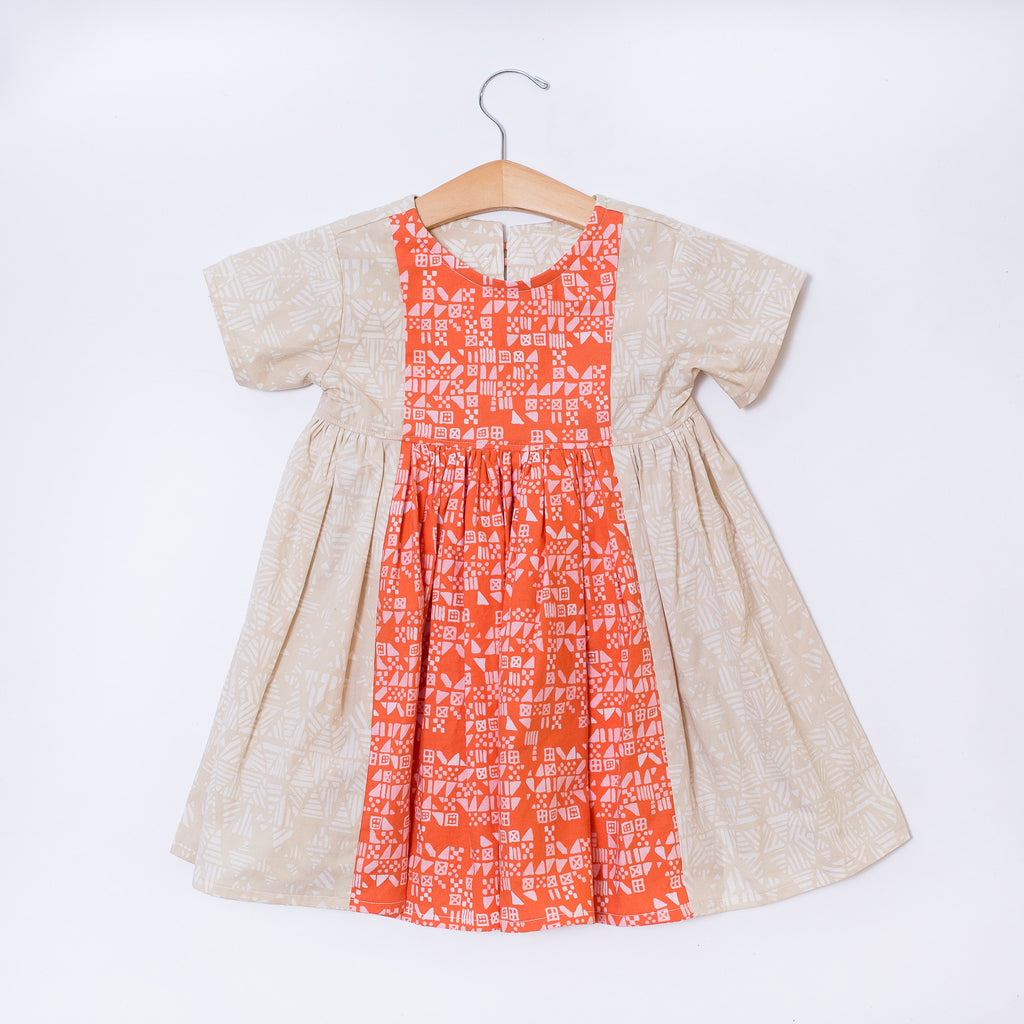 Toddler Dress - Beige Batik