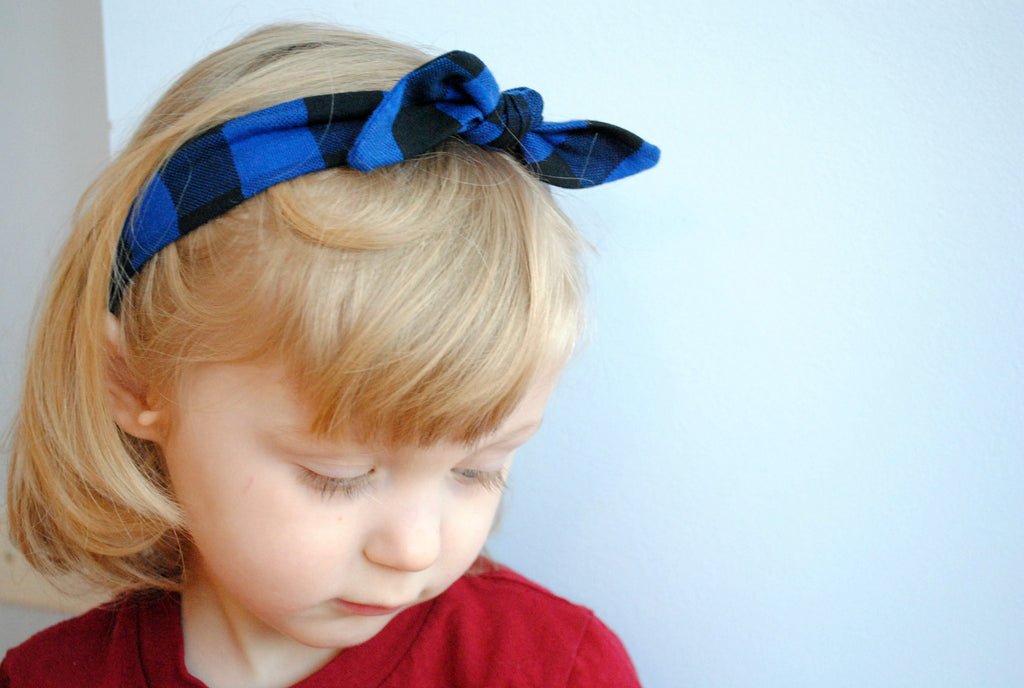 Headband - Blue Plaid
