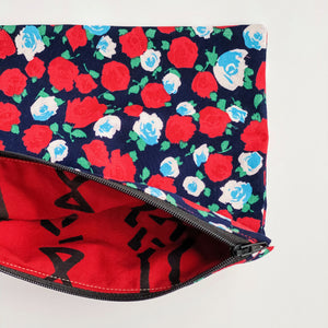 Lilla Barn Clothing Reusable Zipper Pouch with flowers on it fully lined