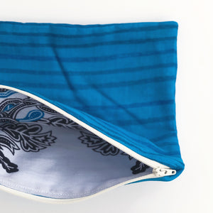 Lilla Barn Clothing Reusable Fabric Zipper Pouch | Blue Waves