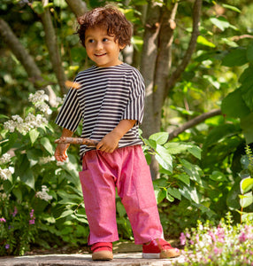 Lilla Barn Clothing Gender Neutral Red Denim Toddler Ninja Pants