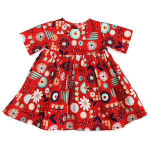 Baby Dress - Scandi Red 6-12 months
