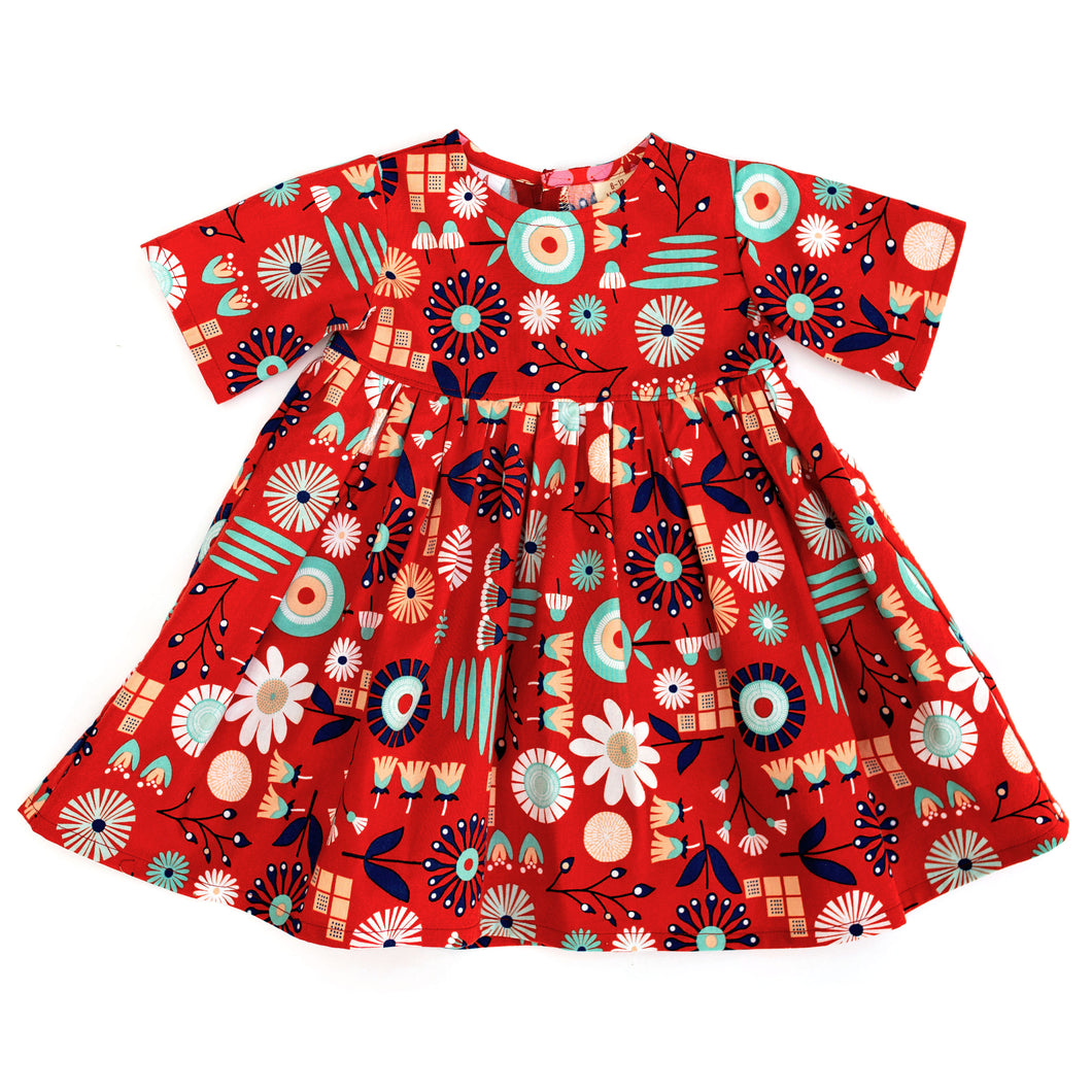Lilla Barn Clothing 6-12 months red floral baby dress