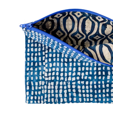 Load image into Gallery viewer, Lilla Barn Clothing | Reusable Fabric Zipper Pouch | Blue Check | Fully lined