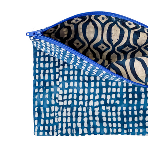 Lilla Barn Clothing | Reusable Fabric Zipper Pouch | Blue Check | Fully lined