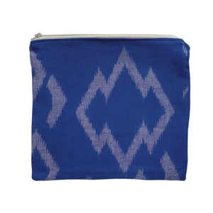 Zipper Pouch - Blue Ikat