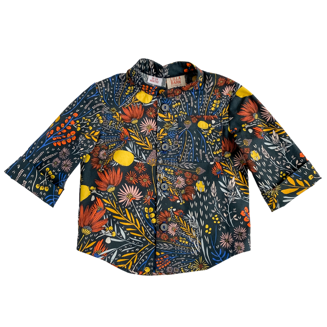 Lilla Barn Clothing Blue Floral gender neutral toddler button down