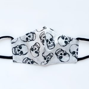 Fitted Face Mask - Gray Skull