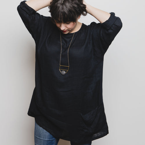 Women's Top - Black Bamboo Tunic