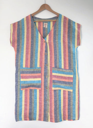 Women's Dress - Rainbow linen medium/large