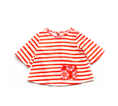 Toddler Top - Gauzy Red