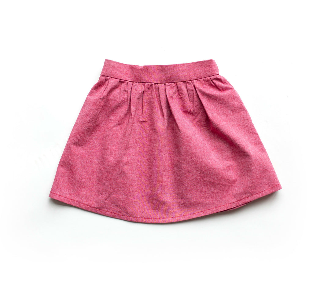 Toddler Skirt - Red Denim