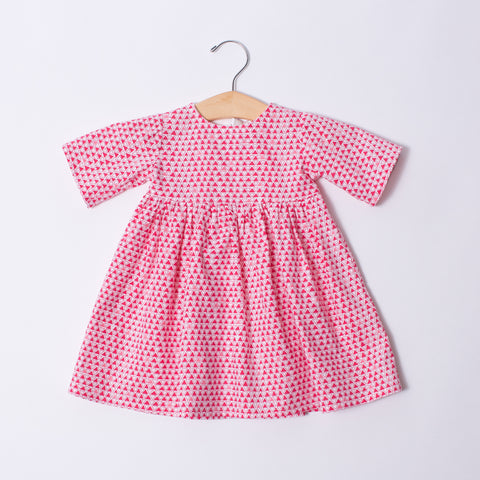 Infant & Toddler Dress - Red Triangles