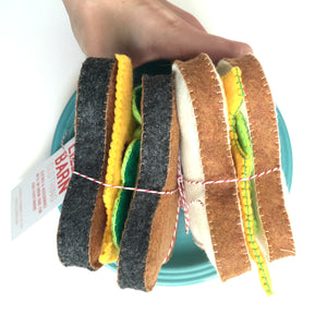 Lilla Barn Clothing Felt Play Sandwich includes bread, cheese, lettuce, and tomato.
