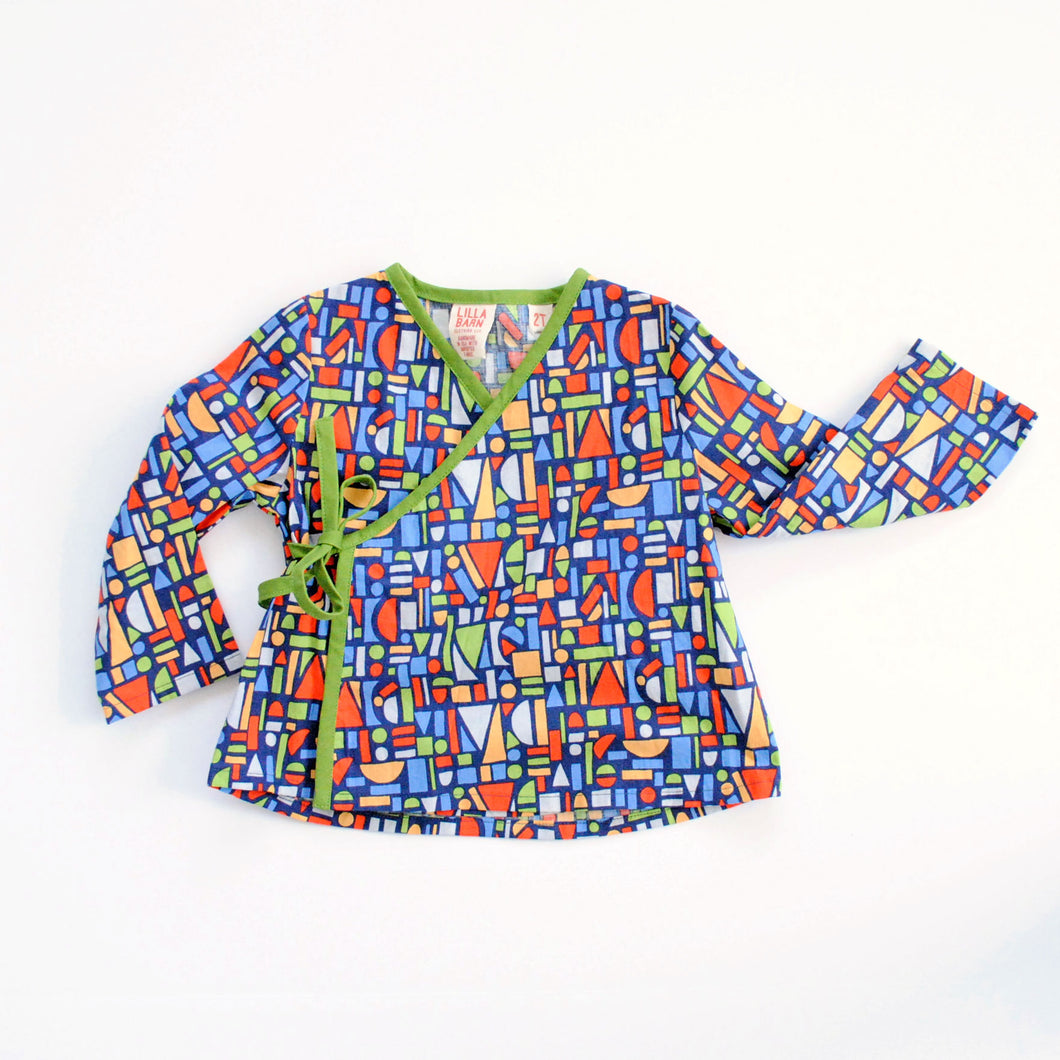 Toddler Wrap Top - Blocks - 2T, 3T, 4T