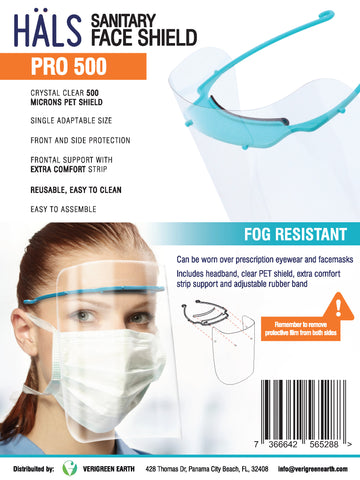 Case of 50 HALS Face Shields / Protective Visors / Reusable [Model: Pro 500]