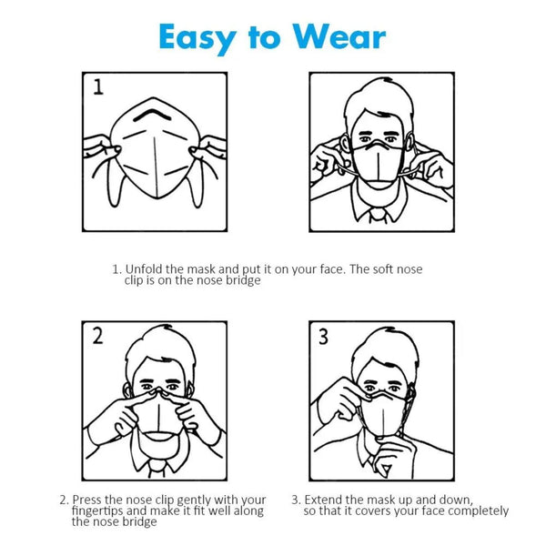 How to put on face masks: 1. Unfold the mask and put it on your nose. The soft nose clip is on the nose bridge. 2. Press the nose clip gently with your fingertips and make it fit well along the nose bridge. 3. Extend the mask up and down, so that it covers your face completely.