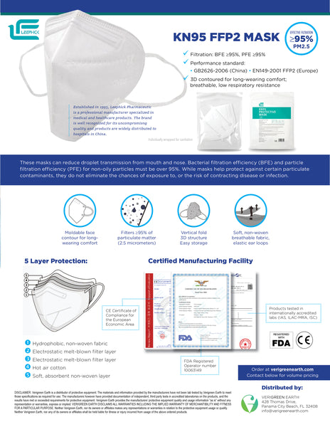 (50) KN95 Masks + 10 FREE Medical Surgical Masks (Leephick Pharmaceutic) CE Approved / FDA EUA Manufacturer