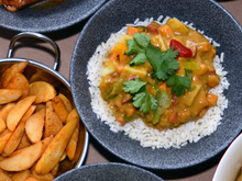 Load image into Gallery viewer, Sweet Potato & Chickpea Curry & Rice - Individual Portion - Food Village