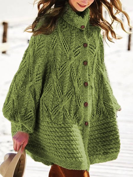 Sweater plus size Vintage Cotton Knitted Outerwear