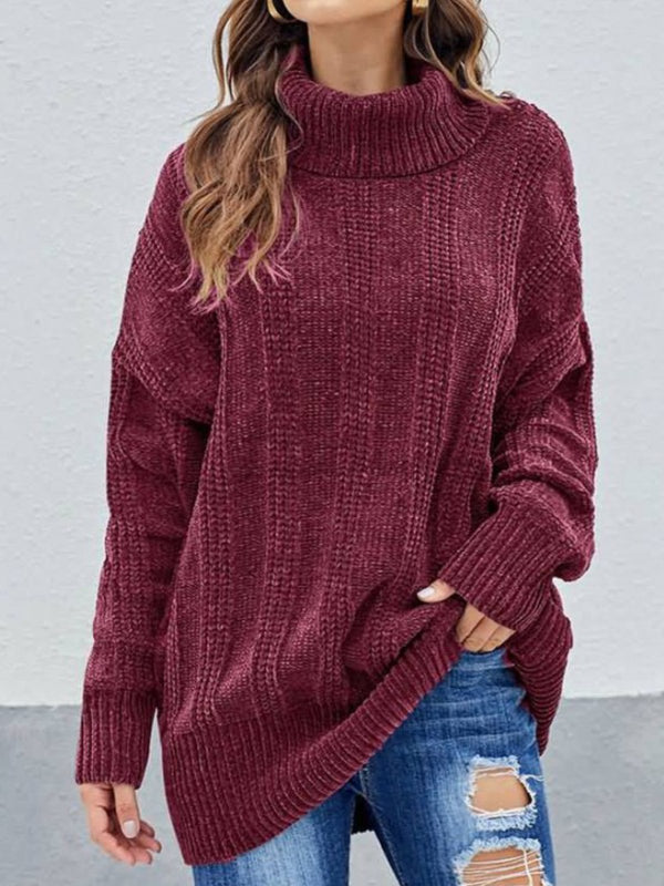 Casual Plus Size Turtleneck Chenille Knitting Sweater