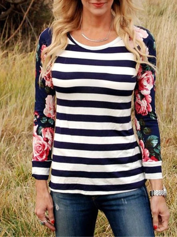 Casual Plus Size Striped Floral Printed Long Sleeve T Shirt