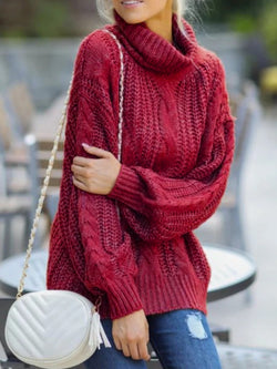 Women Casual Plus Size Cowl Neck Sweater Pullover