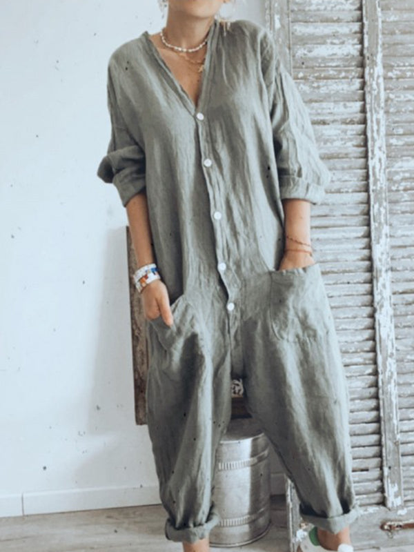 Light Gray 3/4 Sleeve Plain Casual Buttoned Jumpsuits
