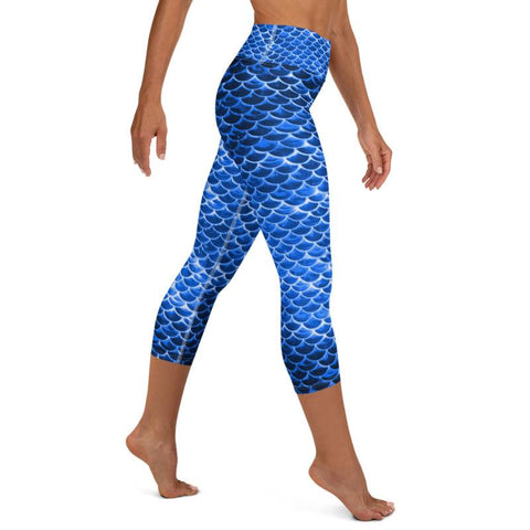 High Waist Blue Mermaid Capris
