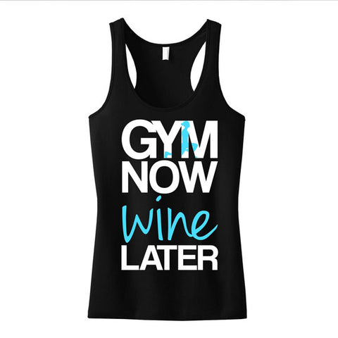 GYM Now Tank Top - Black with Teal