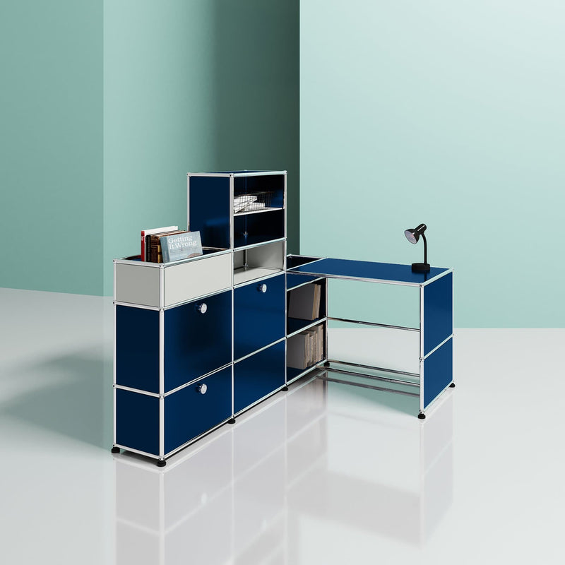 L-Shape Study w/ Shelf - Storage- USM-ONE 52 Furniture
