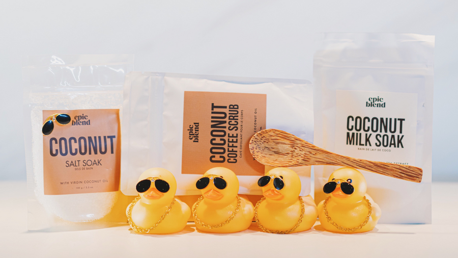 Epic Blend Coconut Bath Series, Salt Soak, Coffee Scrub, Coconut Milk Soak Duckies Approved