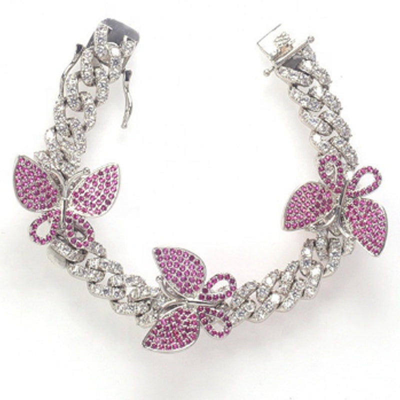 "9"" Fuchsia Butterfly Anklet - White Gold"